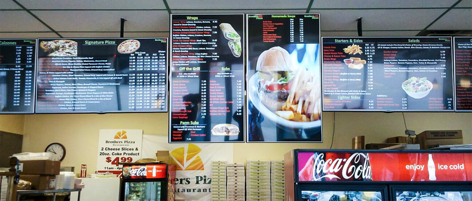 Digital Menu Boards, Pizza Restaurant
